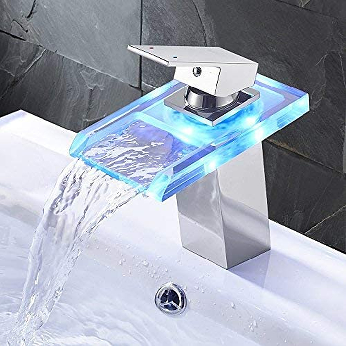 temperature led faucet chrome open waterfall