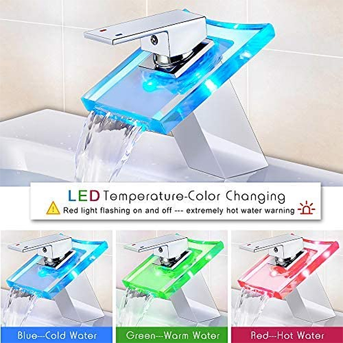 temperature led faucet color-changing effect