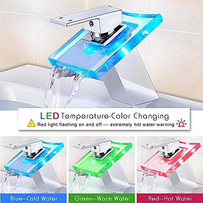 temperature led faucet color-changing effect