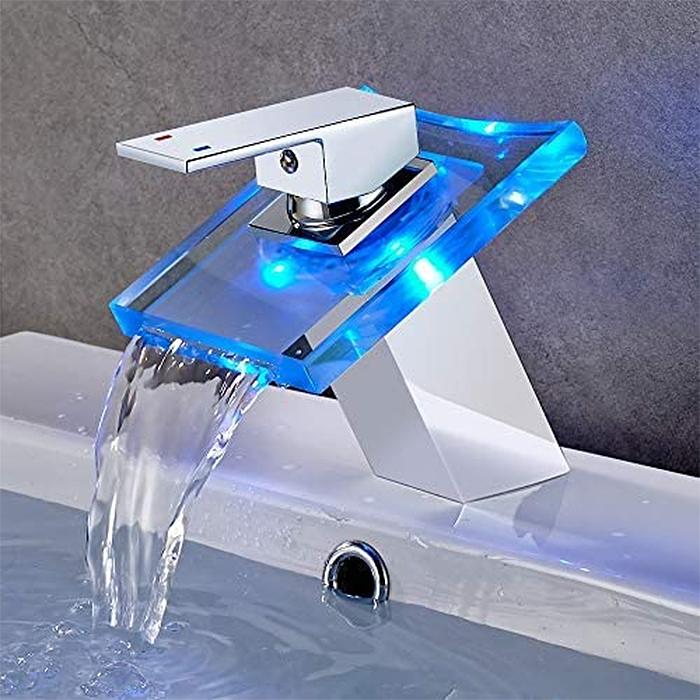 temperature led faucet glass spout