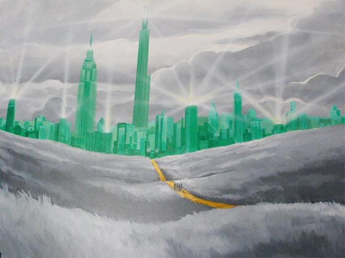 the roxbury motel emerald city wall painting