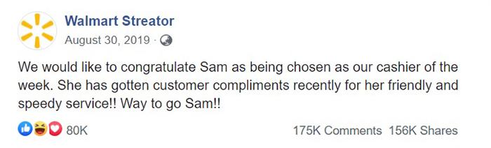 walmart streator cashier of the week facebook post