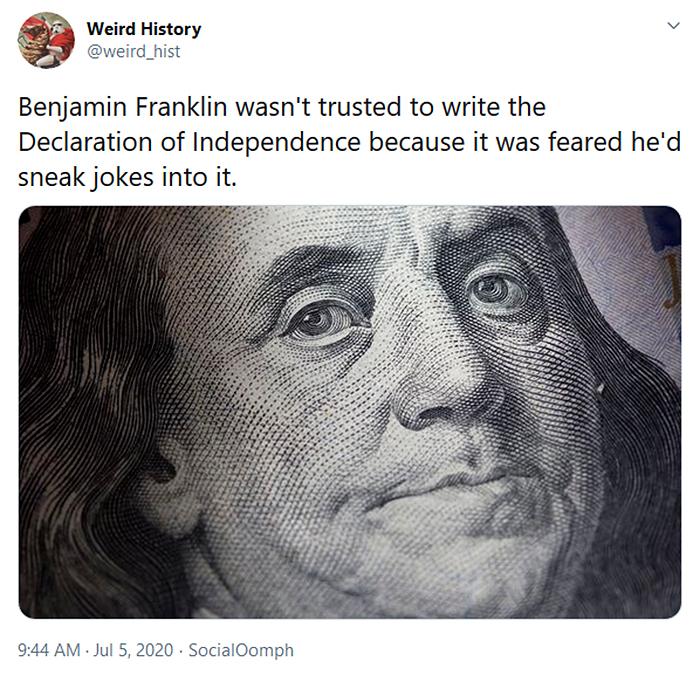 weird history benjamin franklin jokes
