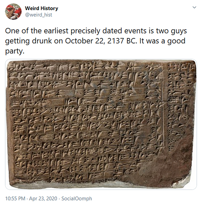 weird history early written record of men getting drunk