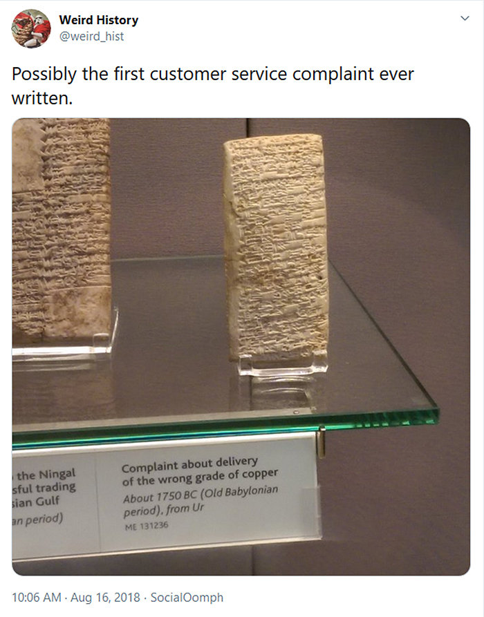 weird history first customer service complaint