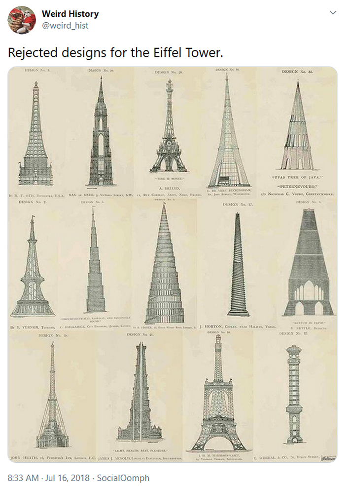 weird history rejected eiffel tower designs