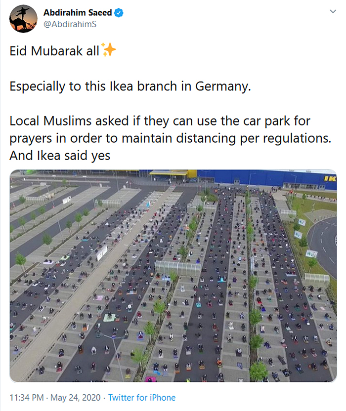 wholesome pics ikea car park for muslim prayers