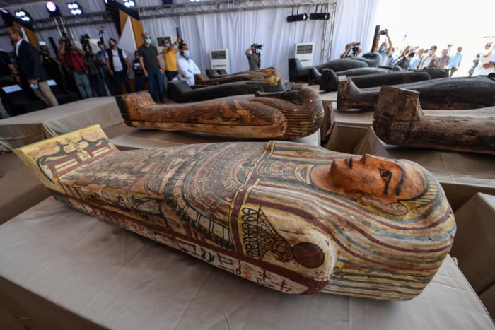 2,600 year old Egyptian coffin with colors and inscriptions intact