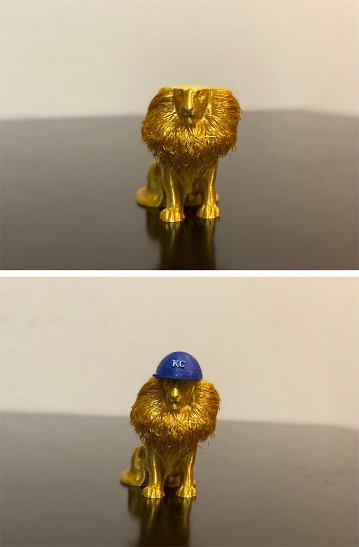 3d printed lion with kc royals cap