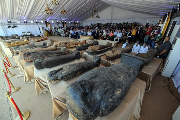 59 well-preserved Egyptian coffins recovered from a burial well in Saqqara
