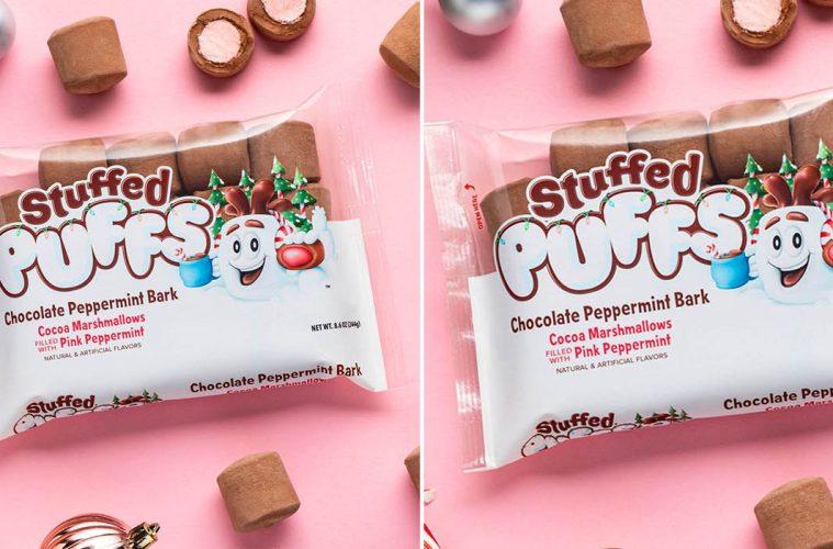 Stuffed Puffs Chocolate Peppermint Bark