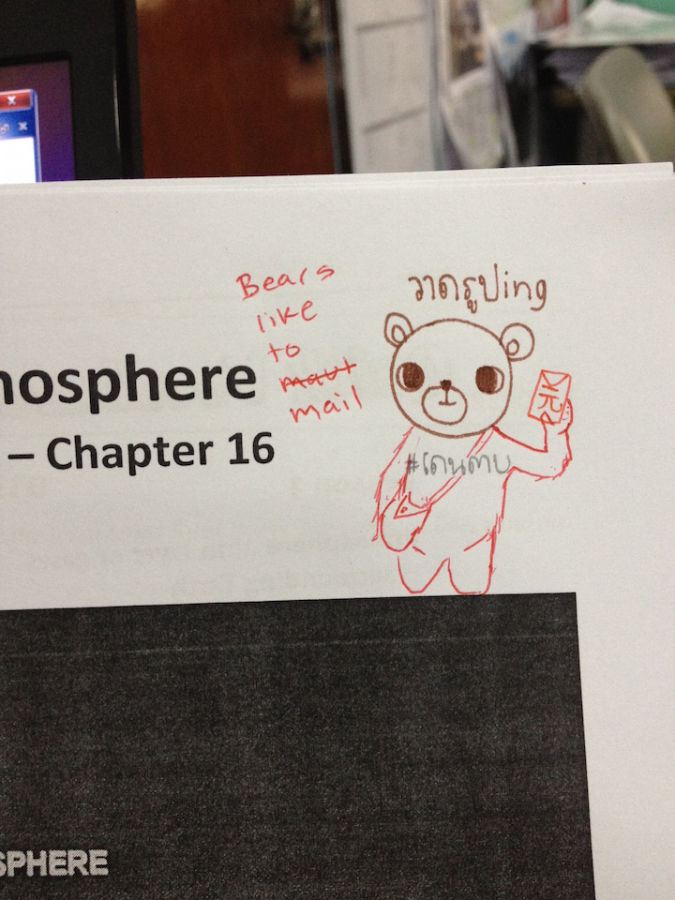 adorable bear mailan on student's workbook