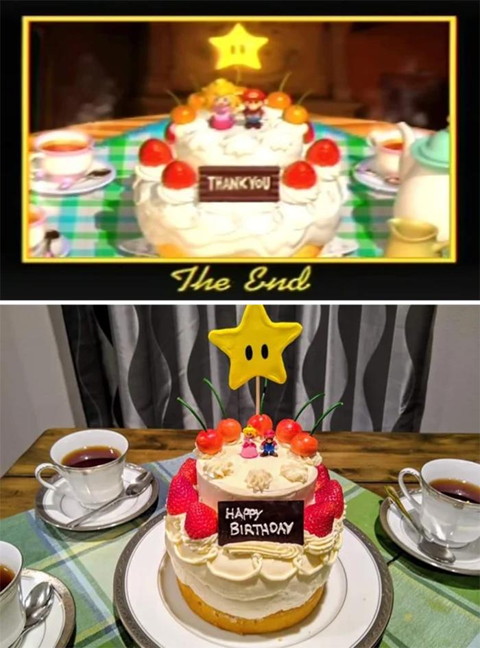 borthday cake super mario 64 end