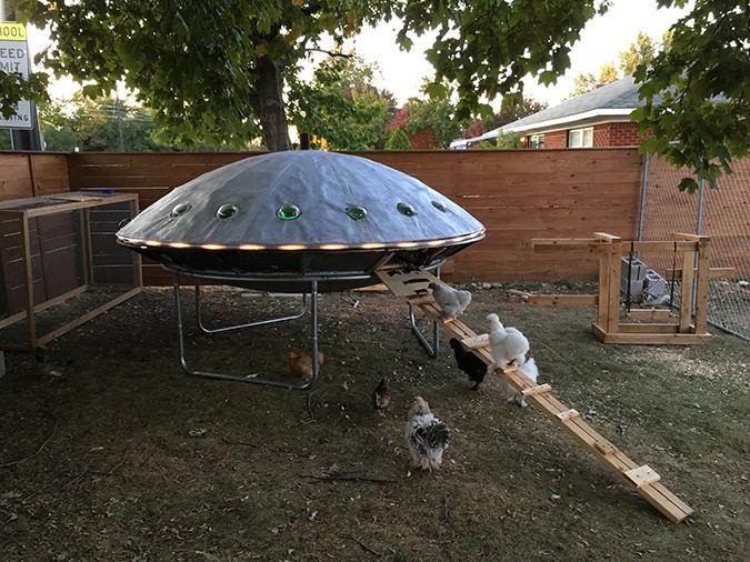 brett and ellen's finished ufo chicken coop