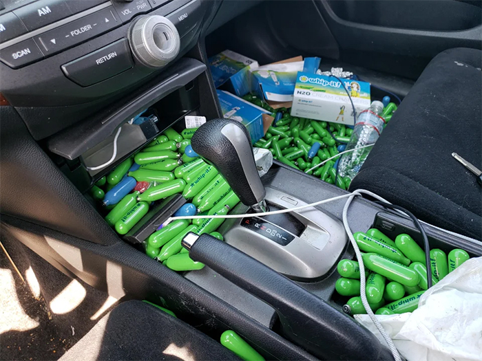 car full of whip-it canisters lost keys