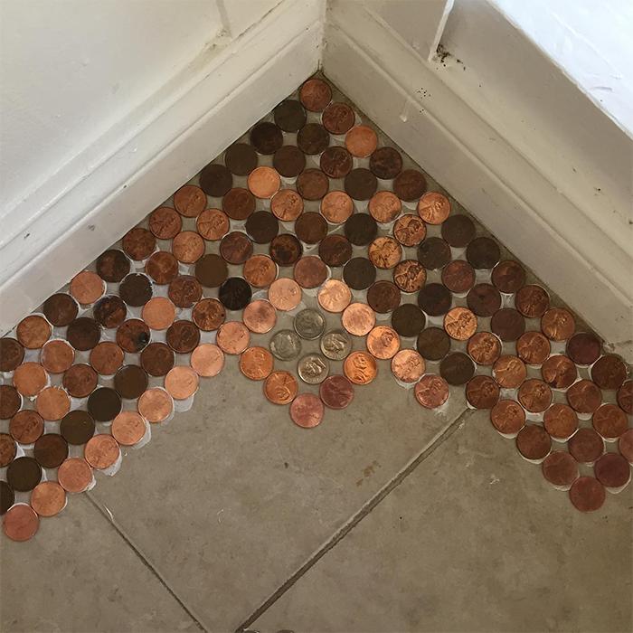 coins floor mosaic design