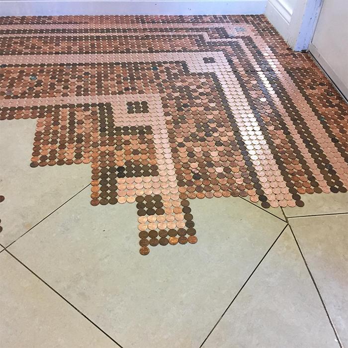 coins floor mosaic pattern