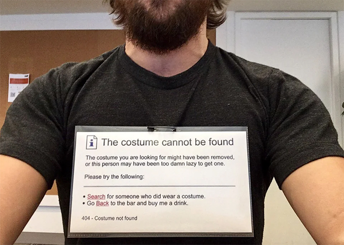 costume not found funny sign