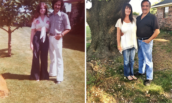 couple by their tree then and now