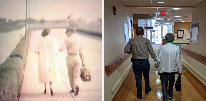 couple pic sixty years apart