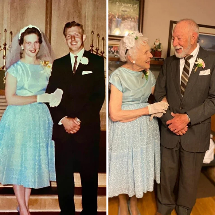 couple pic sixty years later same wedding outfits