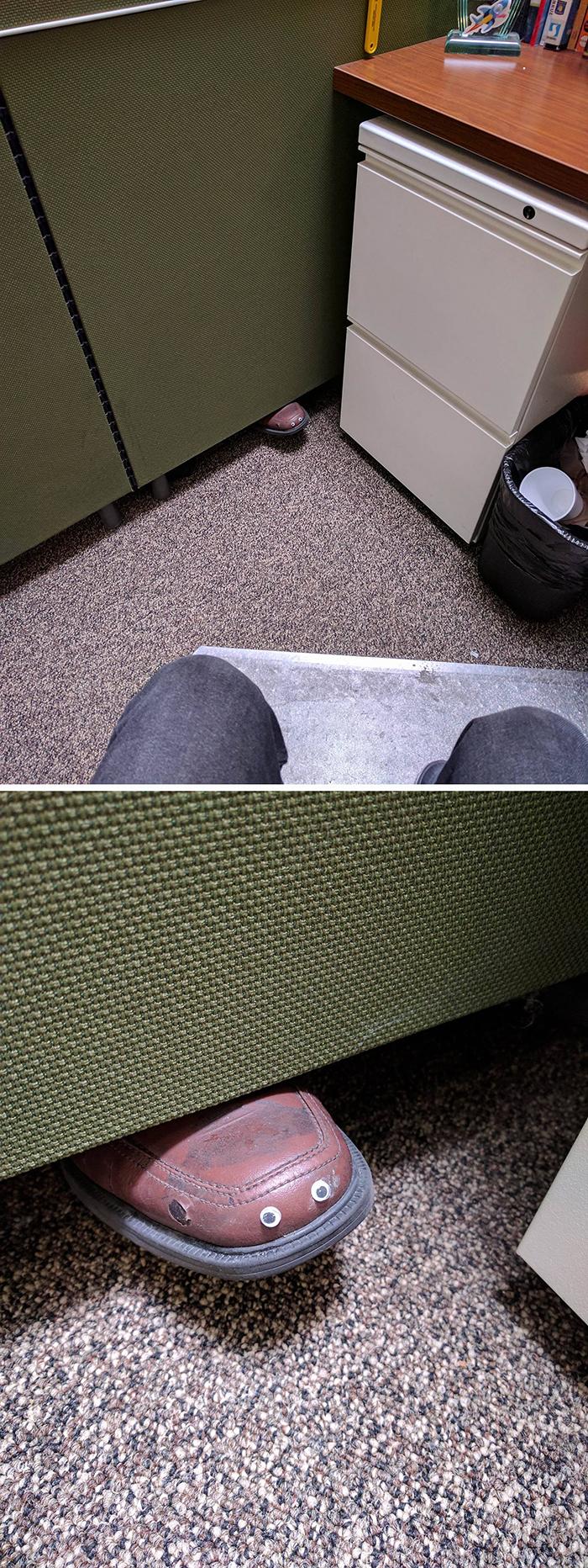 coworker shoe googly eyes