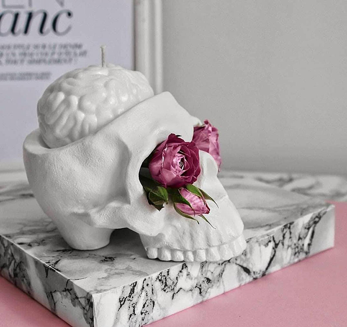 cranium-inspired candle holder
