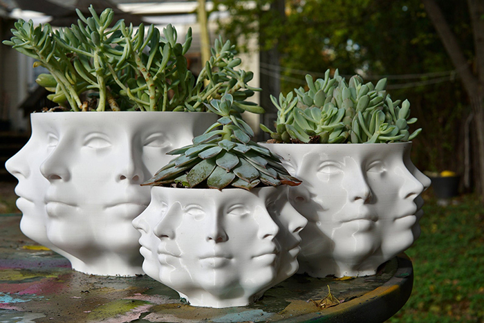 creative gift ideas 3d printed polyface planter by printerror