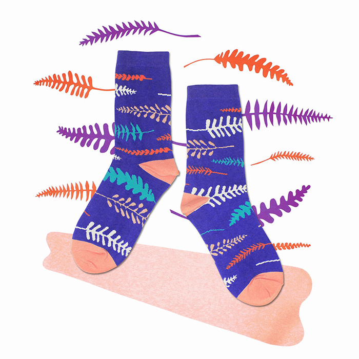 creative gift ideas fern violet crew socks by yusquare
