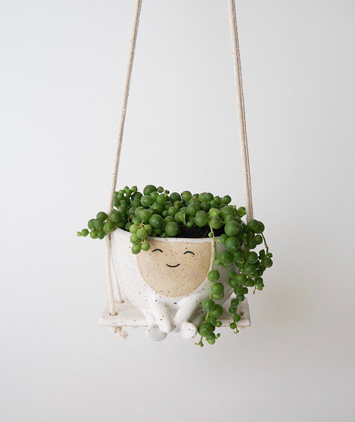 creative gift ideas hanging planter on swing by ceramicsense