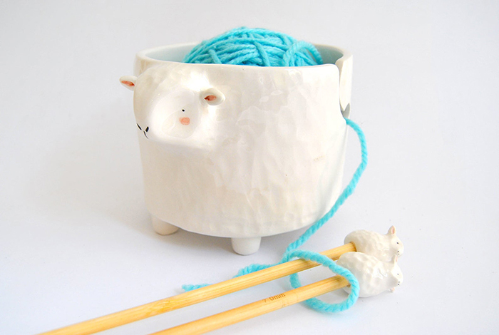 creative gift ideas white sheep ceramic yarn bowl and bamboo needles set by barruntandoceramics