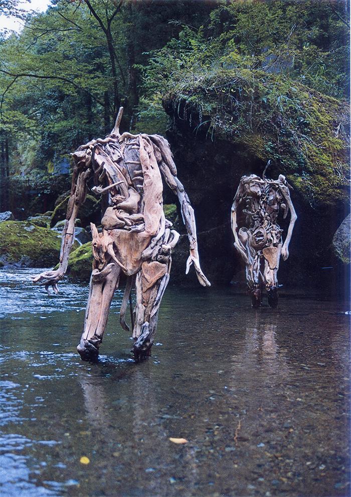 creepy headless wooden figures