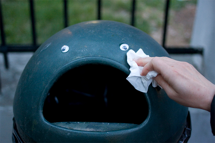 crying trash can