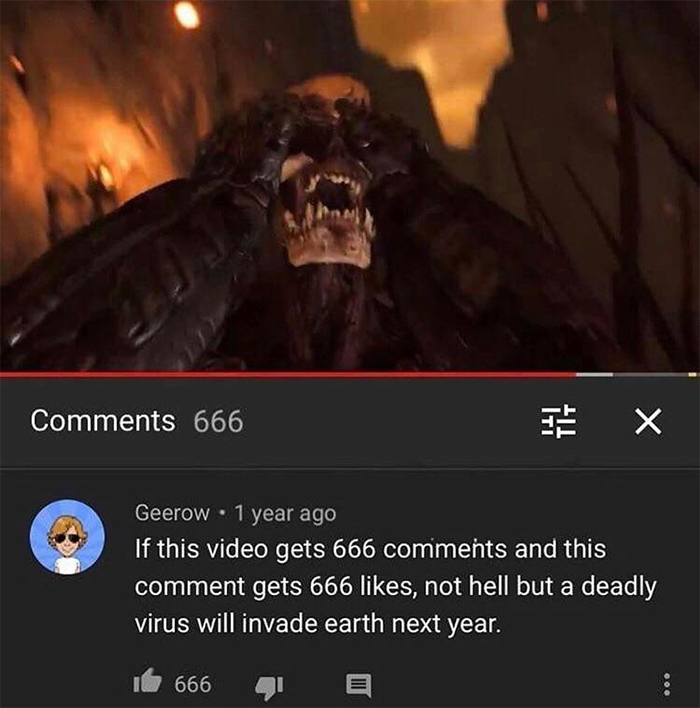 cursed comments 666 virus