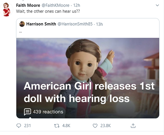 cursed comments doll with hearing loss