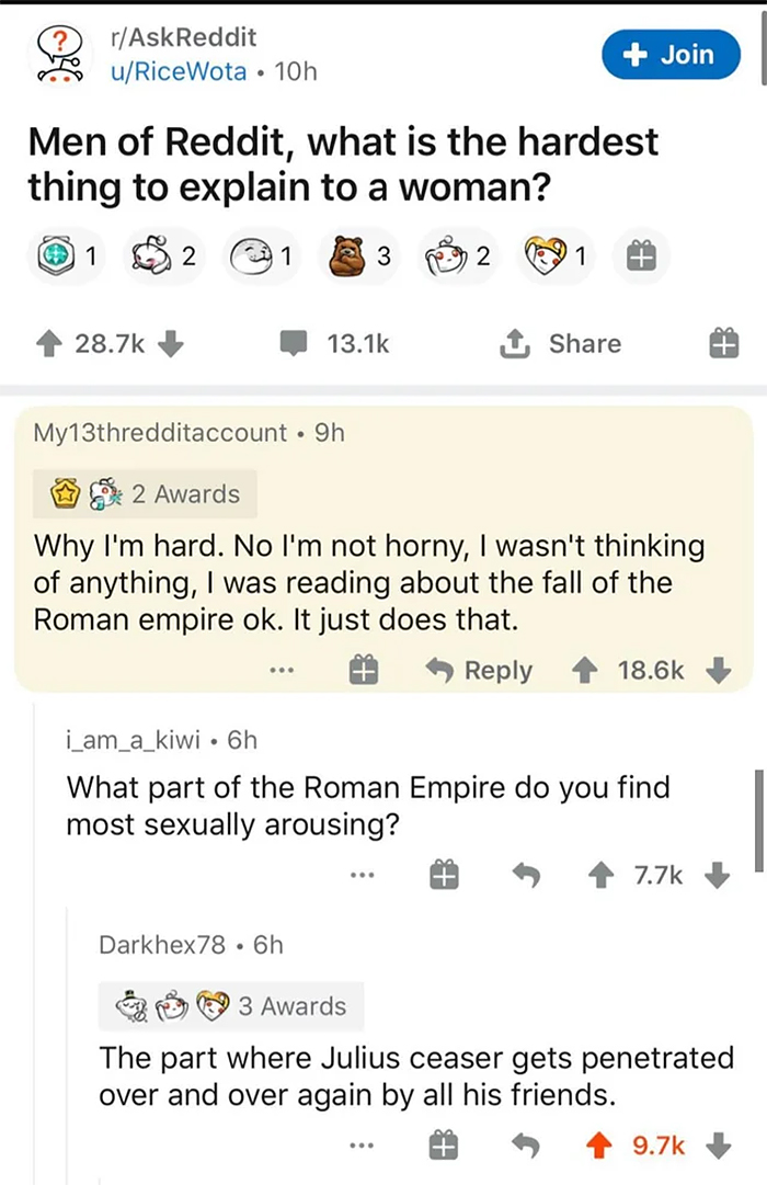 cursed comments sexually arousing roman empire