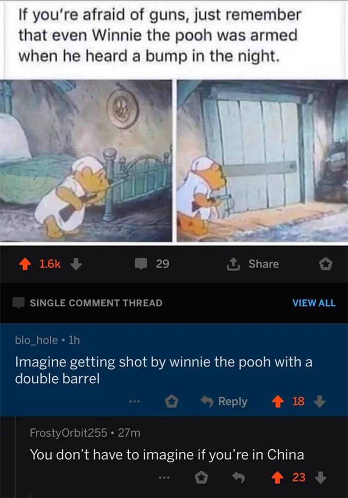 cursed comments winnie the pooh with a double barrel