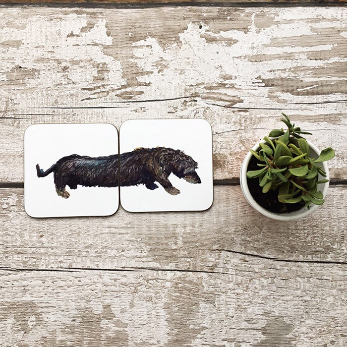 dachshund coaster set by madebyharriet
