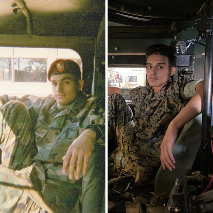 dad and son same pose in uniform