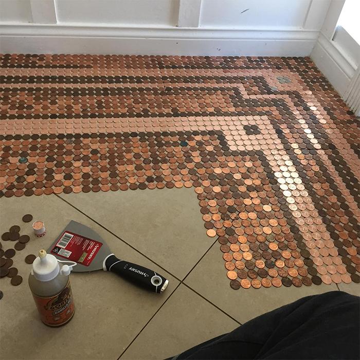 diy penny floor caulking