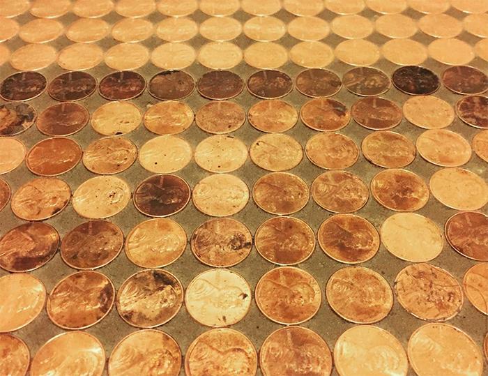 diy penny floor mosaic design