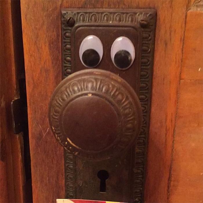 door knob with googly eyes