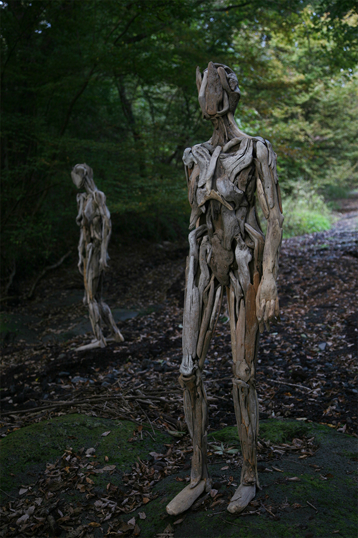 driftwood sculptures in the forest
