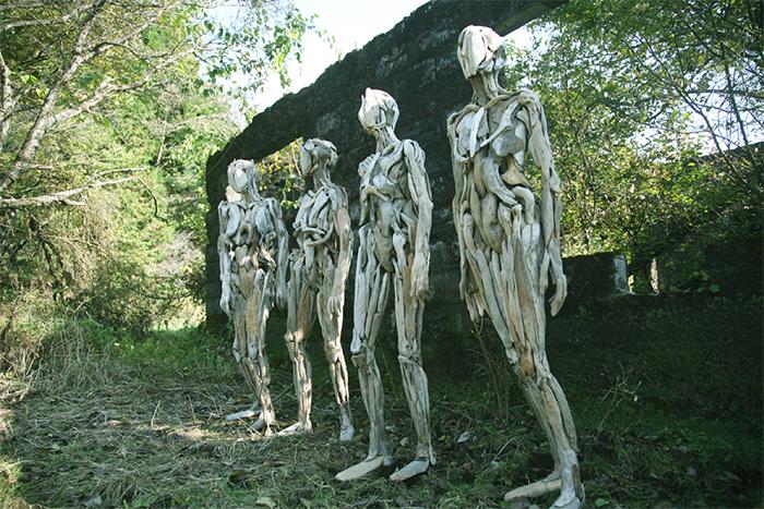 eerie driftwood sculptures