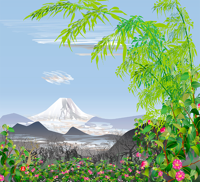 excel spreadsheet paintings bamboo with mount fuji
