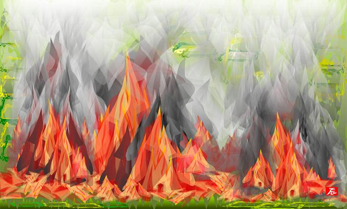 excel spreadsheet paintings burning
