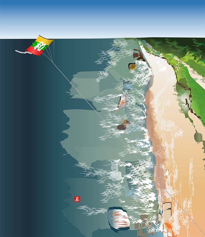 excel spreadsheet paintings kite flying over the baltic sea