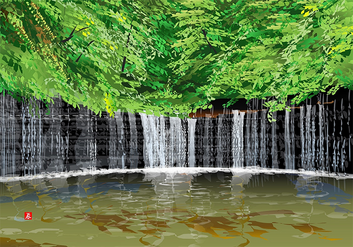 excel spreadsheet paintings shiraito waterfall