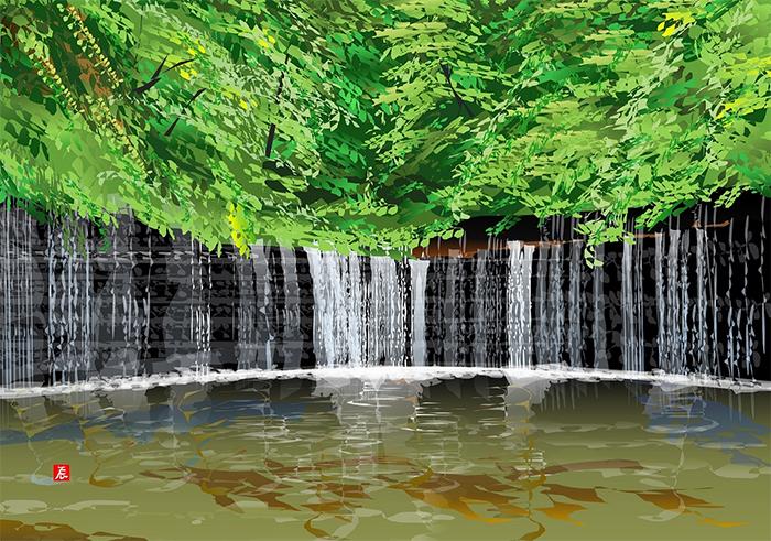 excel spreadsheet paintings shiraito waterfall
