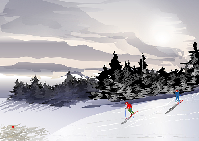 excel spreadsheet paintings snow mountain